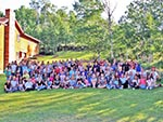 Reid Ranch can accommodate very large groups. Over 100 girls in this photo.