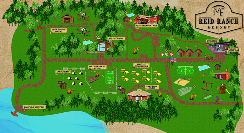 Map of Reid Ranch: showing locations of lodging, attractions, food, merchandise, and miscellaneous items.