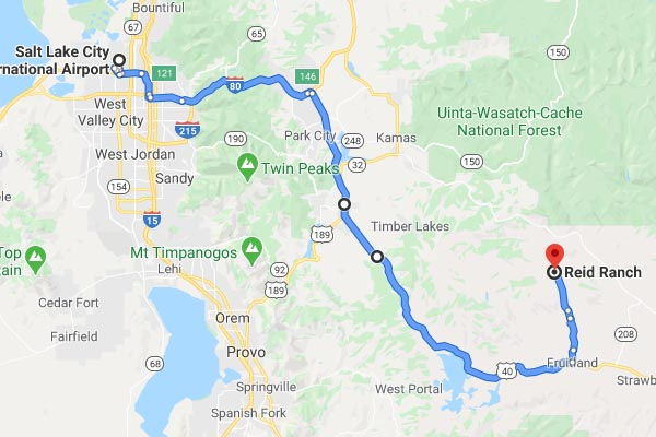 Tiny map from Google Maps (links to Google Maps showing directions from Salt Lake City to Reid Ranch)