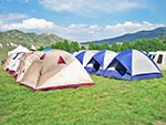 A group of well-organized campers pitched their similar style tents in nice neat rows.