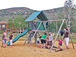 With a Lifetime Deluxe Swing Set the playground is a good spot to entertain the younger children.